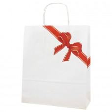 White Kraft Twist Handle Paper Bag Bow - Pack 25 unt