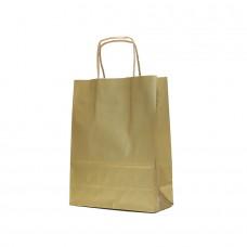 Paper Bag Twisted Handle Brown Kraft Gold - Pack 25 unt
