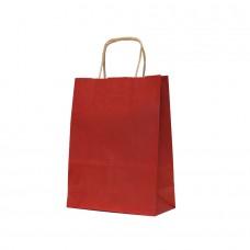 Paper Bag Twisted Handle Brown Kraft Red - Pack 25 unt