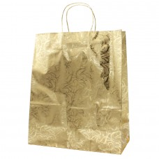 Twisted Handle Metallic Paper Bag Gold Pattern - Pack 20 unt