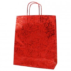 Twisted Handle Metallic Paper Bag Red Pattern - Pack 20 unt