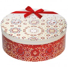 Round gift box festive red/cream design with red satin ribbon - Unit