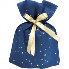 Bag Non-woven polypropylene blue/gold/white gold satin ribbon - Unit