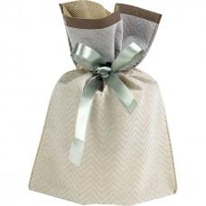 Bag Non-woven polypropylene brown/beige/green satin ribbon/label - Unit