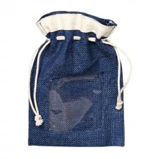 Hessian pouch with PVC window and rope ties Blue - Unit