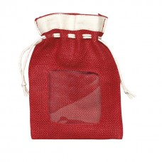 Hessian pouch with PVC window and rope ties/red and cream - Unit