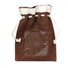 Hessian pouch with PVC window and rope ties/brown and cream - Unit