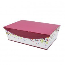 Rectangular slant cardboard giftbox with magnetic hinged lid white/purple - Unit