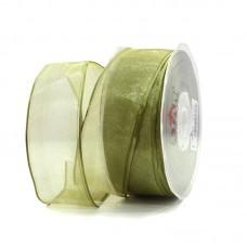 Gold Green Organza Ribbon - Unit