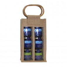 Jute Bag wooden handle - 2 Bottles Unit