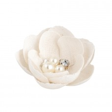 Decorative glossy Flower with pearls Cream - Pack 12 unt